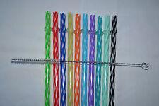 Reusable Straws Clear Swirly Colored Hard Plastic Acrylic Rings + Brush #1B