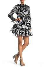 Ted Baker Florae Ruffle Skater Gray Cocktail Dress Size 1 US 2-4 NWT