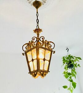 "✨27"" Antique Bronze Spanish Lantern Light 4 Panel Louis Rococo Gold Cherub Putti"