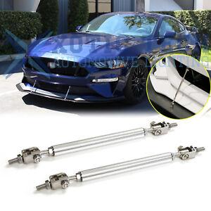 For Ford Mustang Adjustable Chrome Front Bumper Lip Splitter Strut Rod Tie Bars