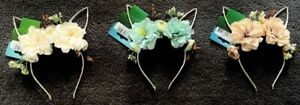 Easter Bunny Ears / Cat Ears Floral Wired Headband - Blush OR Teal OR Apricot
