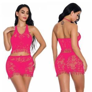 Lace Babydoll Lingerie Nightwear Sleepwear Bodysuit Body Fishnet Stocking K