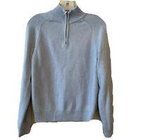 Brooks Brothers 346 Size Medium Supima® Cotton 1/4 Zip Sweater Blue