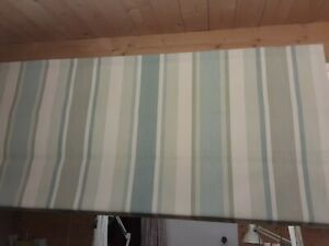 Roman Blind Laura Ashley Awning Stripe Pistachio/Duckegg Fabric  Made to measure