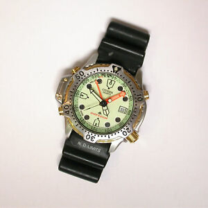 VINTAGE 42mm CITIZEN PROMASTER YELLOW/LIME GLOW DIAL DIVER WATCH - 5861-F80057