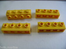 Lego 4 briques jaunes set 7939 4439 8143 7635 / 4 yellow brick modified w/ studs