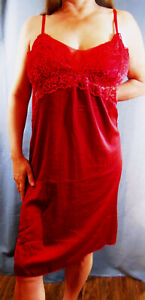 SENSUAL PLUS SIZE SEXY RED STRETCH LIQUID SATIN MEGALACY SLIP CHEMISE 44 46 NWOT