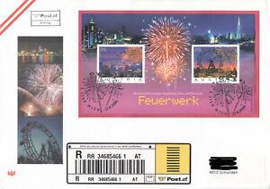 Feuerwerkblock auf Reco Ersttagsbrief