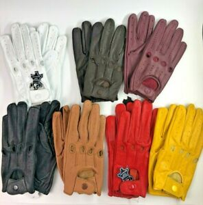 Women's Soft Genuine Leather Driving Motorcycle Gloves UNLINED for Spring Summer