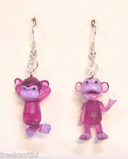 "NEW PURPLE Mini Funny Silly Goofy Cute Monkeys Apes Toys 1"" Dangle Earrings"