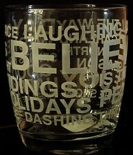 Nicholas Square Frosted Words Holiday Phrases Short Glass Tumbler Old Fashioned