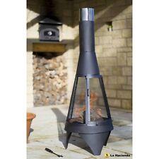 La Hacienda Medium Mesh Colorado Black Steel Chiminea Patio Heater 56137.