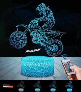 Motocross 3D Lampes avec Télécommande, MELDESIGN LED Lampe 7 couleurs Lumière Di