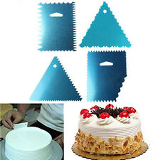 4pcs Cake Pizza Side Scraper Decorating Cutter Smoother Fondant Kitchen Tool