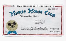 ORIG 1960s MICKEY MOUSE CLUB MEMBERSHIP CERTIFICATE Number 225417