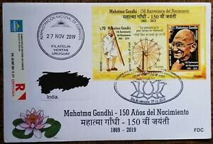 Uruguay Mahatma Gandhi Registered FDC Commercial Used To India FD Cancelled