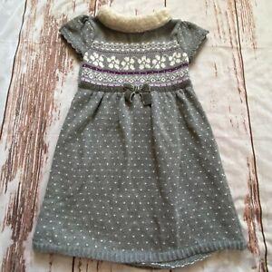 Gymboree girls holiday sweater dress-gray-size 4-guc