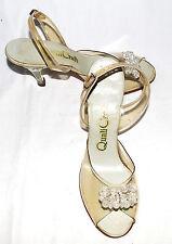Vintage 50s Qualicraft Lucite Slingback Peep Toes Floral Carved Heels Sz 6 1/2 M