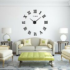 Fas1 Modern DIY Large Wall Clock Big Watch Decal 3d Stickers Roman Numerals