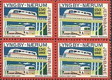 Denmark - Blok of 4 Lyngby - Maerum Jernbane 150 ore Railroad, Trains