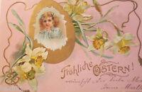 """ Pascua, Niños, Huevo de Pascua, Narcisos"" 1903 , Postal Relieve (21345)"