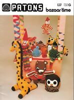 Vintage Patons bazaar time knitting crochet pattern book c.37 toys gift tea cosy