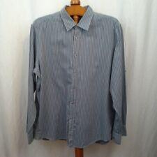 Hugo Boss mens shirt Size 2XL Gray blue stripes Spread collar Regular fit LS