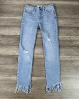 New Free People Great Heights Frayed Skinny Jeans, Blue, W29, RRP $78
