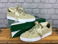 PUMA LADIES UK 7 EU 40.5 SAFARI METALLIC SUEDE HEART RIBBON LACE TRAINERS RRP£75