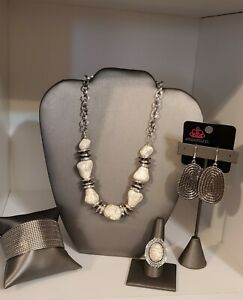 Paparazzi Jewelry Lot White Crackle Stone 4pc necklace earrings bracelet ring