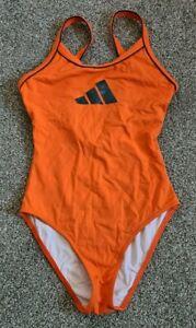 """Shiny Orange Blue Swimsuit Adidas Lycra Spandex Swim Costume Med UK 10/12 34-36"""""""