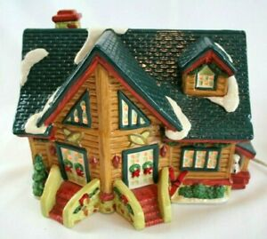 Santa's Best Christmas Ceramic House with Lights & Dog House Snow