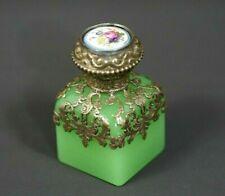 19c.French Palais-Royal Ormolu Brass Vaseline Opaline Glass Perfume Scent Bottle