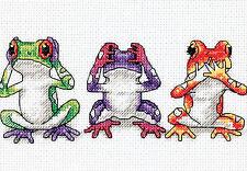 Cross Stitch Mini Kit ~ Dimensions Colorful Tree Frog Trio Hear No Evil.. #16758