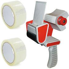 More details for packing packaging tape gun dispenser + free 2 clear tape rolls 66m parcel tape