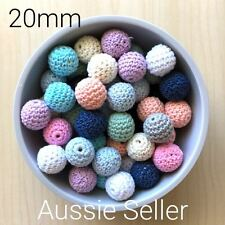 20x MIXED Crochet wood beads 20mm knit wooden teething DIY jewellery toy baby
