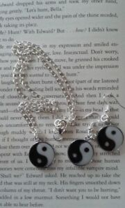 HANDCRAFTED NECKLACE AND EARRING SET - YIN & YANG - SILVER PLATED