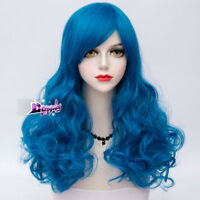 53CM Royal Blue Women Fashion Lady Anime Long Curly Wavy Hair Party Cosplay Wig