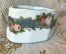 New listing Serving Silverware Caddy Floral Design Gold Trimmed Hand Painted