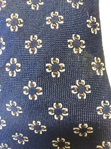 TM Lewin Pure Silk Handmade Tie - Blue with Floral Pattern