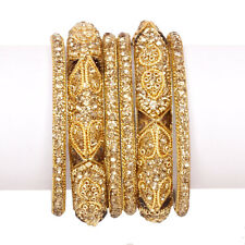 Indian Bollywood Gold Plated Wedding AD Bangles Bracelets Kade Bridal Jewelry