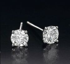 0.60 CT ROUND CUT 14K WHITE GOLD NETURAL G SI2 DIAMONDS STUD EARRINGS cts carat