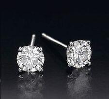 0.60 Ct Round G/h Si2 Diamond 14k White Gold Stud Earrings