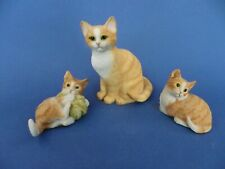 Ginger Mother Cat & Two Kittens Figurines by Leonado.