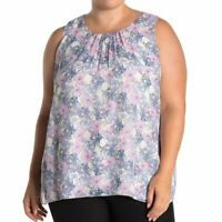 NEW VINCE CAMUTO Plus Size Floral Print Chiffon Tank Cream Ivory Blue Purple 1X