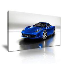 Blue Ferrari Super Car Canvas Wall Art Picture Print 60x30cm