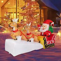 7ft Christmas Inflatable Santa Claus Double Deer LED Lights Decor Yard Decor