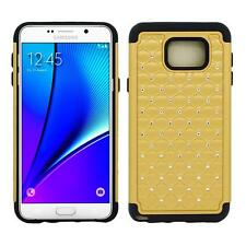 For Samsung Galaxy Note 5 Hybrid Box PC Shockproof Diamond Bling Case Cover Gold