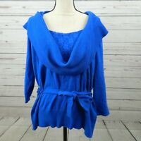 Alyx Women's Blue Cowl Neck Lace Belted Sweater Plus Size 2X 3/4 Sleeve A8