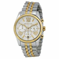Michael Kors Lexington Chronograph Mother of Pearl Two-tone Ladies Watch MK5955